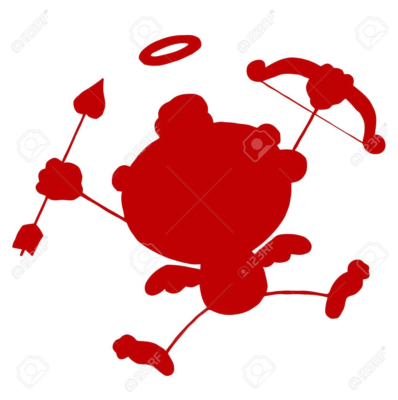 Red Stick Silhouette Cupid with Bow and Arrow Flying Stock Vector - 16511631