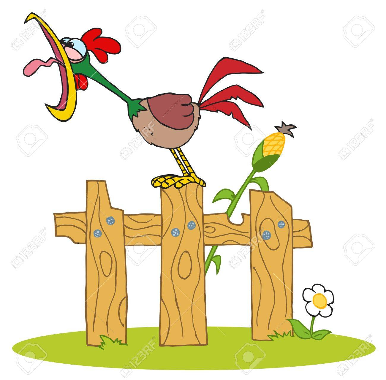 Mascot Cartoon Character A Cock Crowing Stepped On The Fence Stock Vector - 16511875