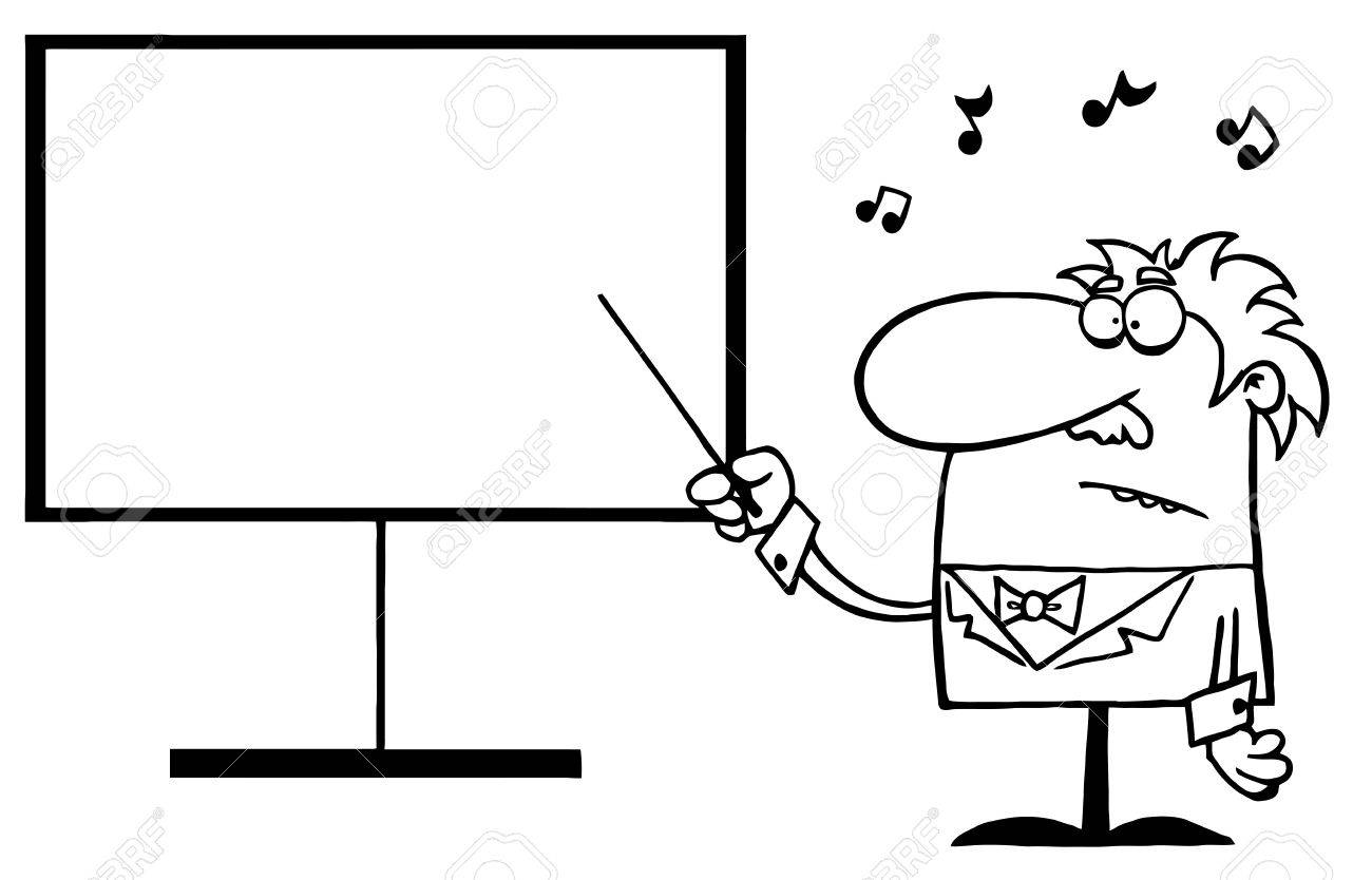 Outlined Music Teacher Pointing To A Blank Board Stock Vector - 16533024