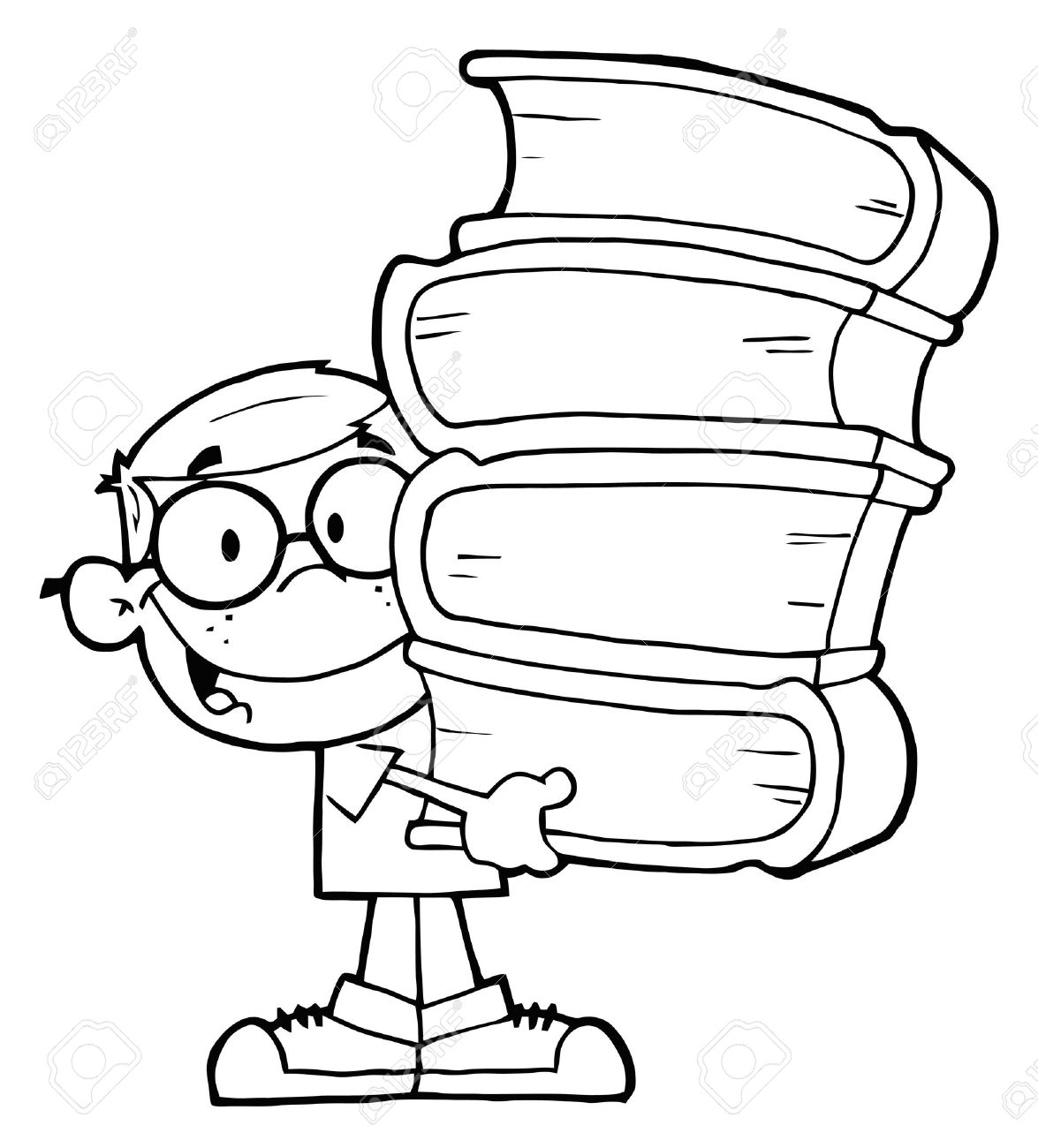 Smart School Boy Carrying A Stack Of Books Stock Vector