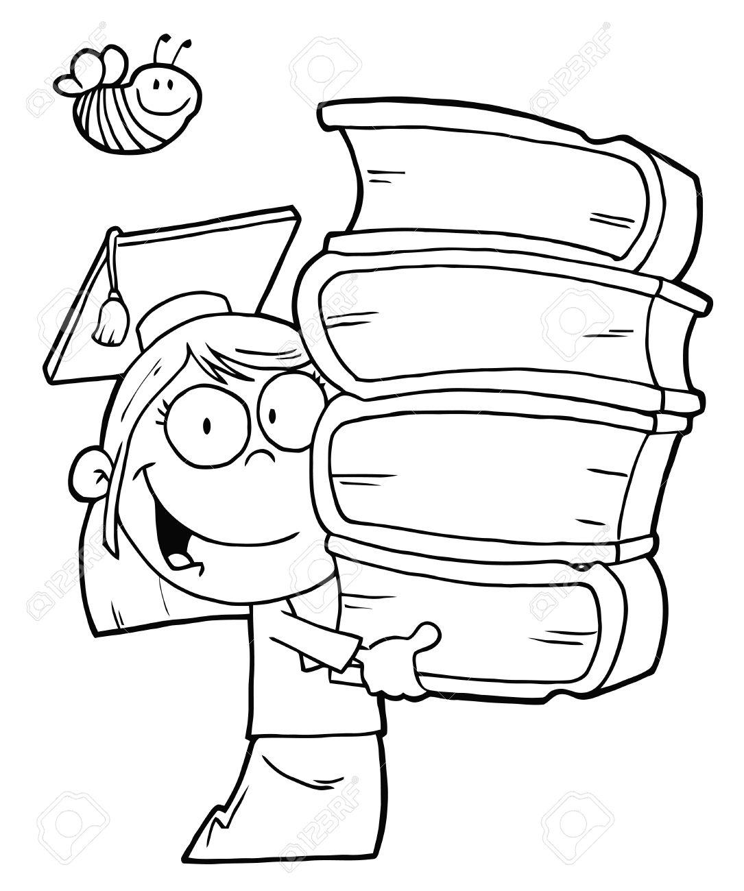 Bee Über Einen Skizzierten Graduate School Girl Carrying Einem ...