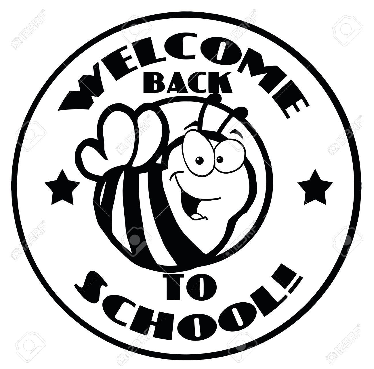 black and white welcome back to school bee circle royalty free
