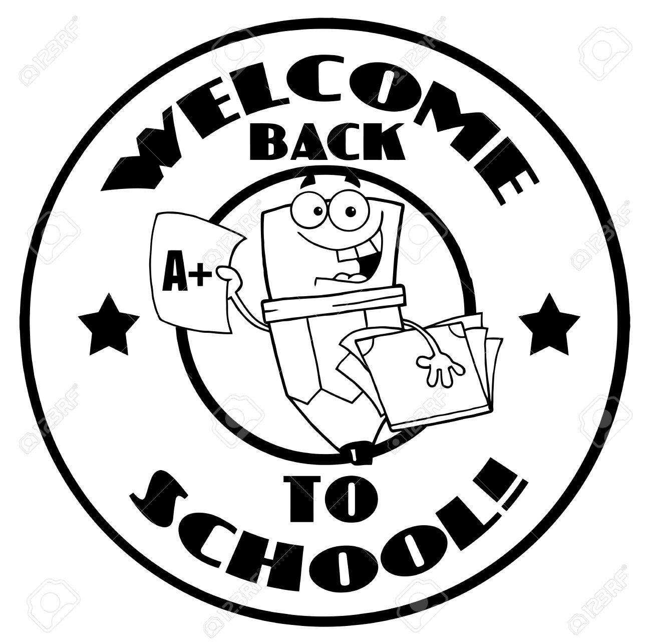 black and white welcome back to school pencil circle royalty free