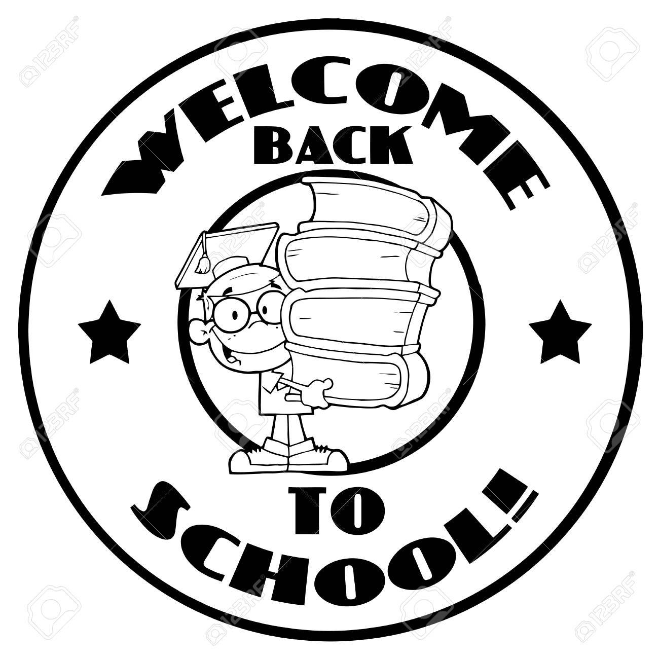 black and white school boy with books on a welcome back to school rh 123rf com clipart welcome back to school welcome back to school clipart free