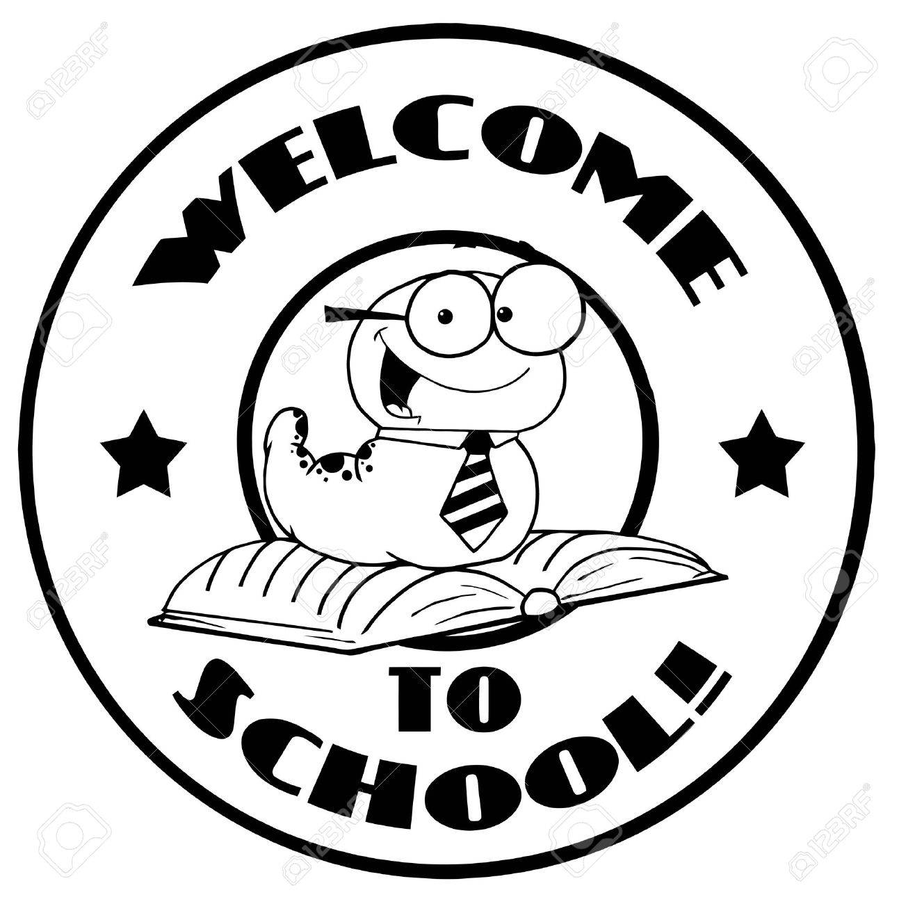 black and white worm on a welcome back to school circle royalty free rh 123rf com clipart welcome back to school welcome back to school clip art free