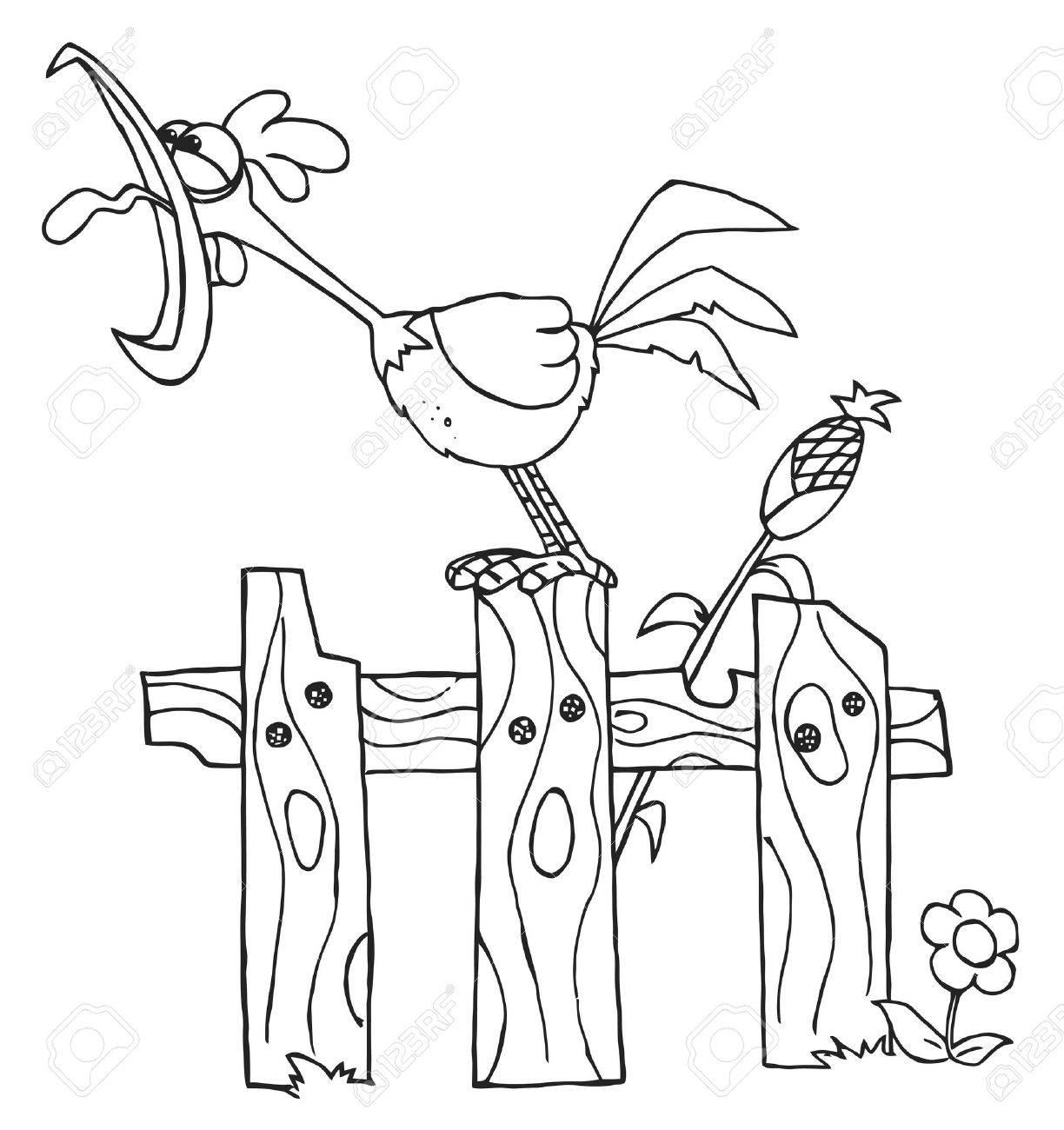 Esquema De Un Gallo Cantando Ruidosamente En Una Cerca Por Un Tallo ...