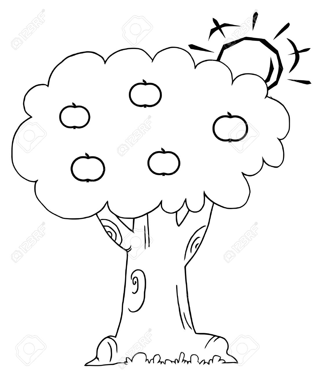 Coloring book page apple tree - Outline Of The Sun Behind An Apple Tree Stock Vector 16511994