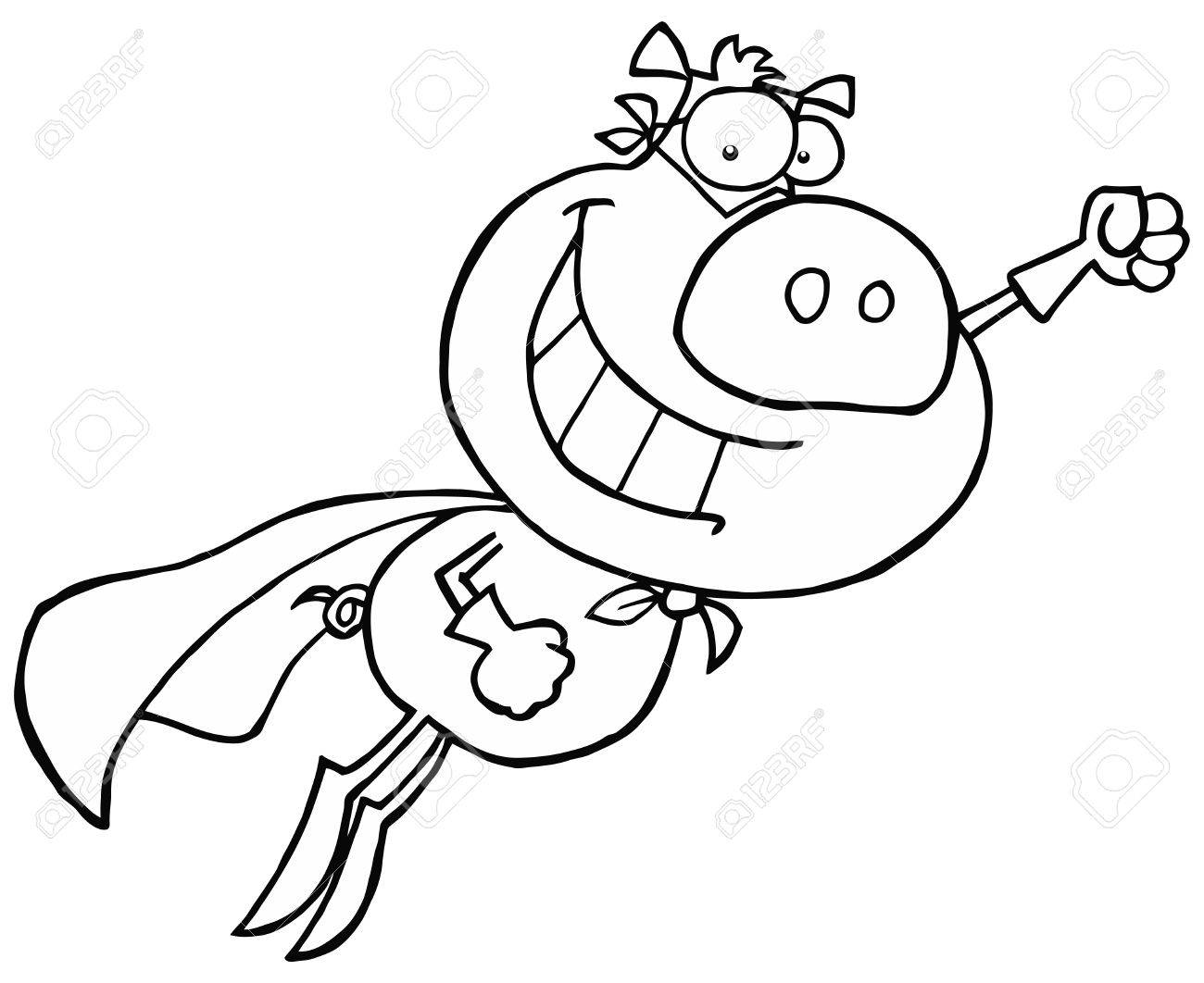 Black And White Super Pig Flying With A Cape Stock Vector - 16598165
