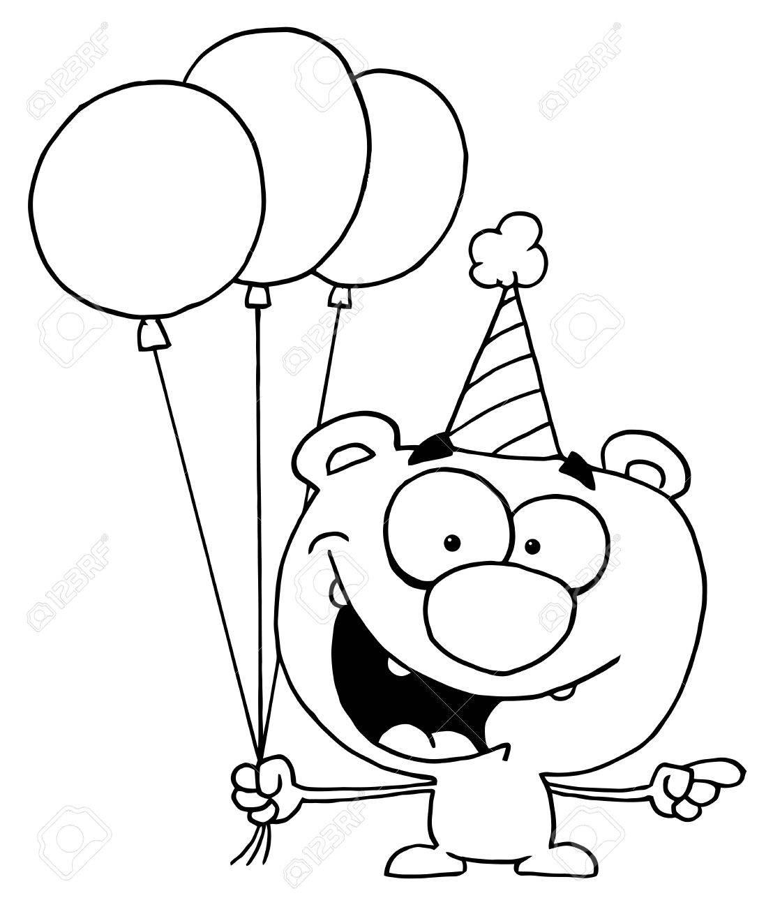 Outlined Birthday Bear Stock Vector - 16597272