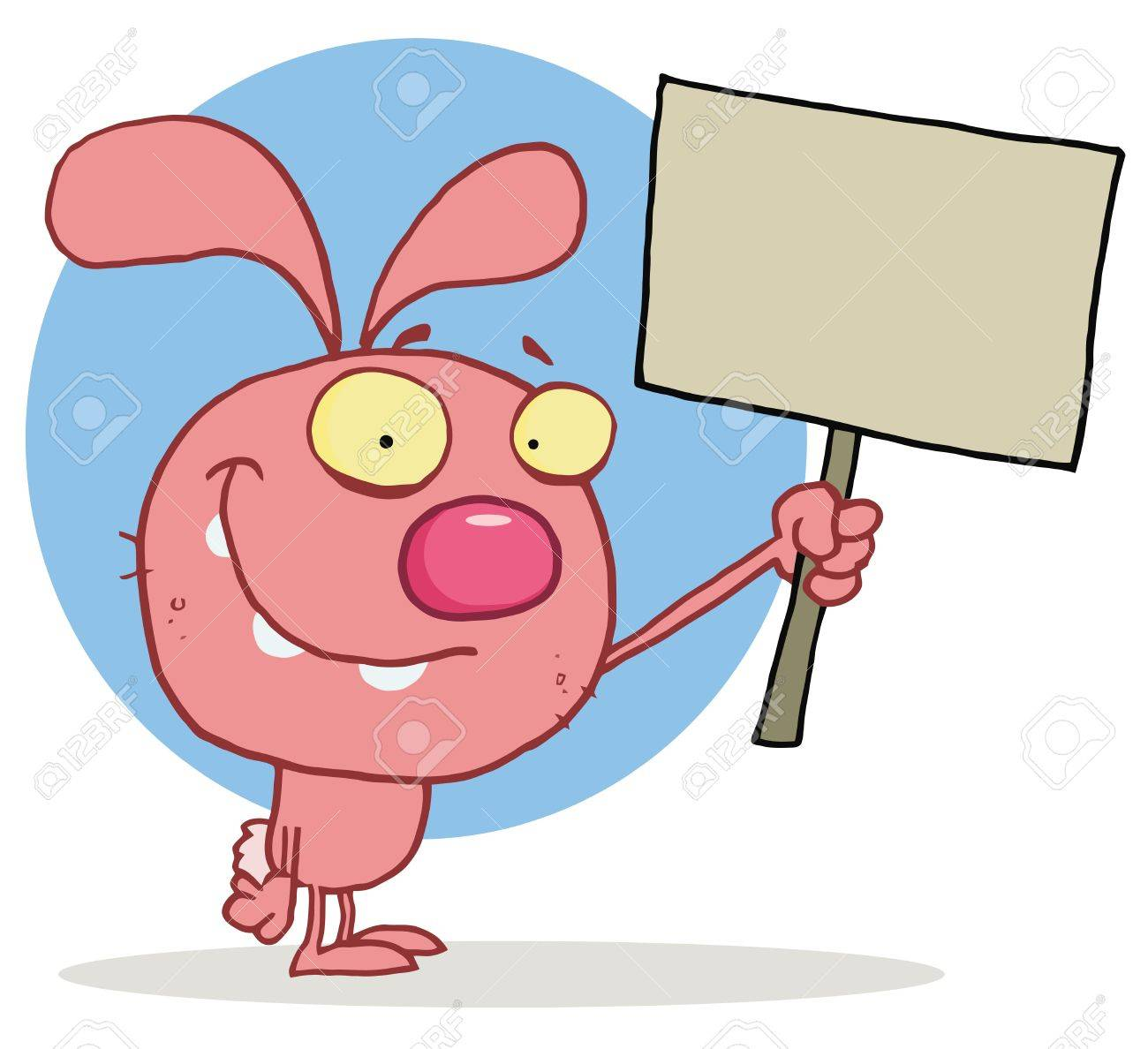 Happy Pink Rabbit Holding Up A Blank Sign Stock Vector - 16595762