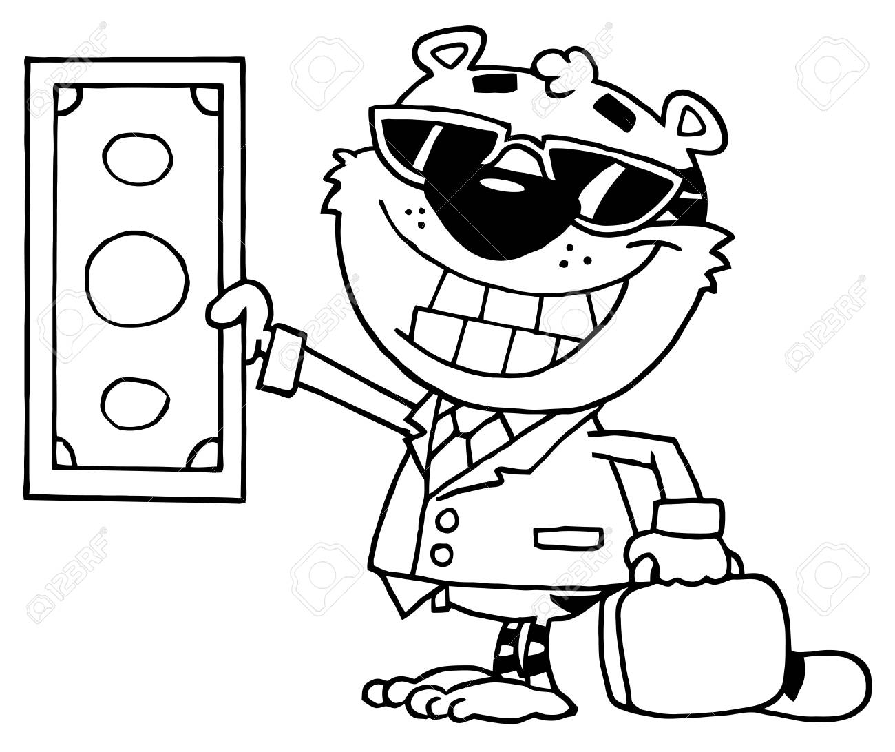 Outlined Wealthy Tiger Holding Cash Stock Vector - 16578303
