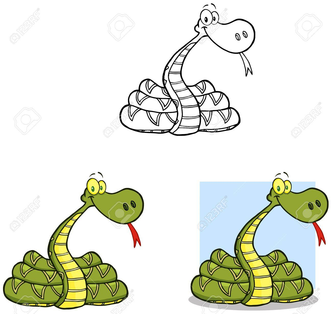 Snake Cartoon Mascot Characters- Collection Stock Vector - 17726566
