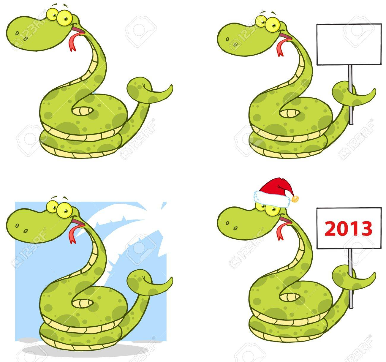 Snake Cartoon Mascot Characters- Collection Stock Vector - 17726540
