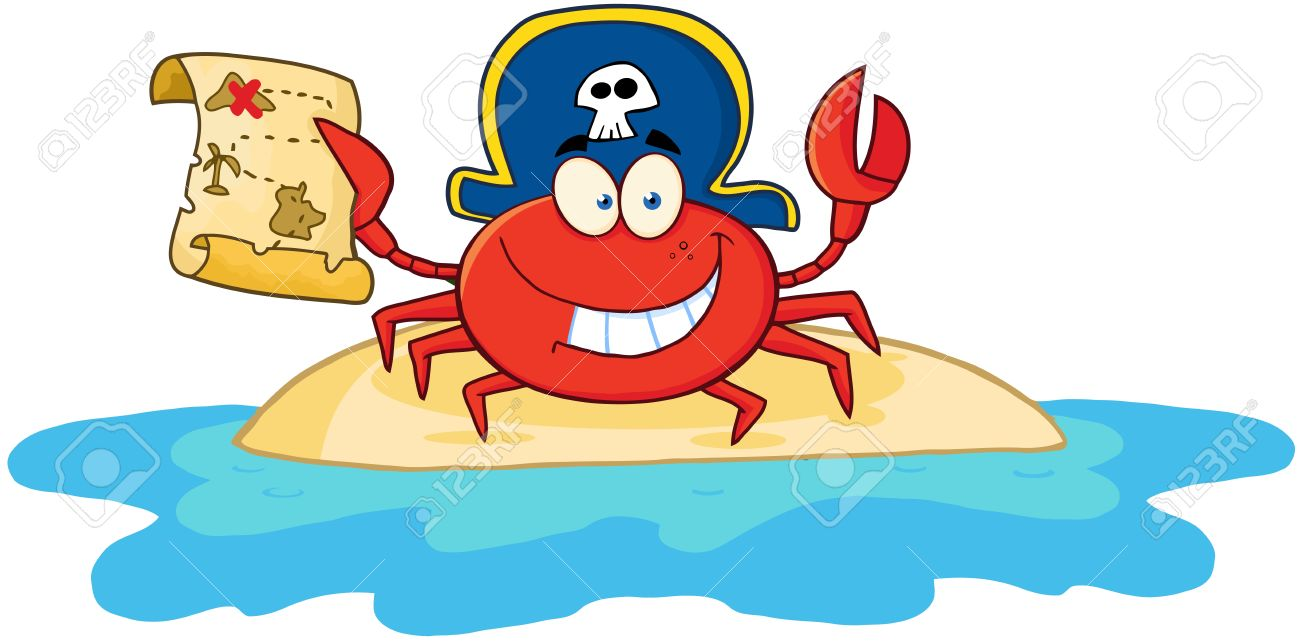 pirate crab holding a treasure map on island royalty free cliparts