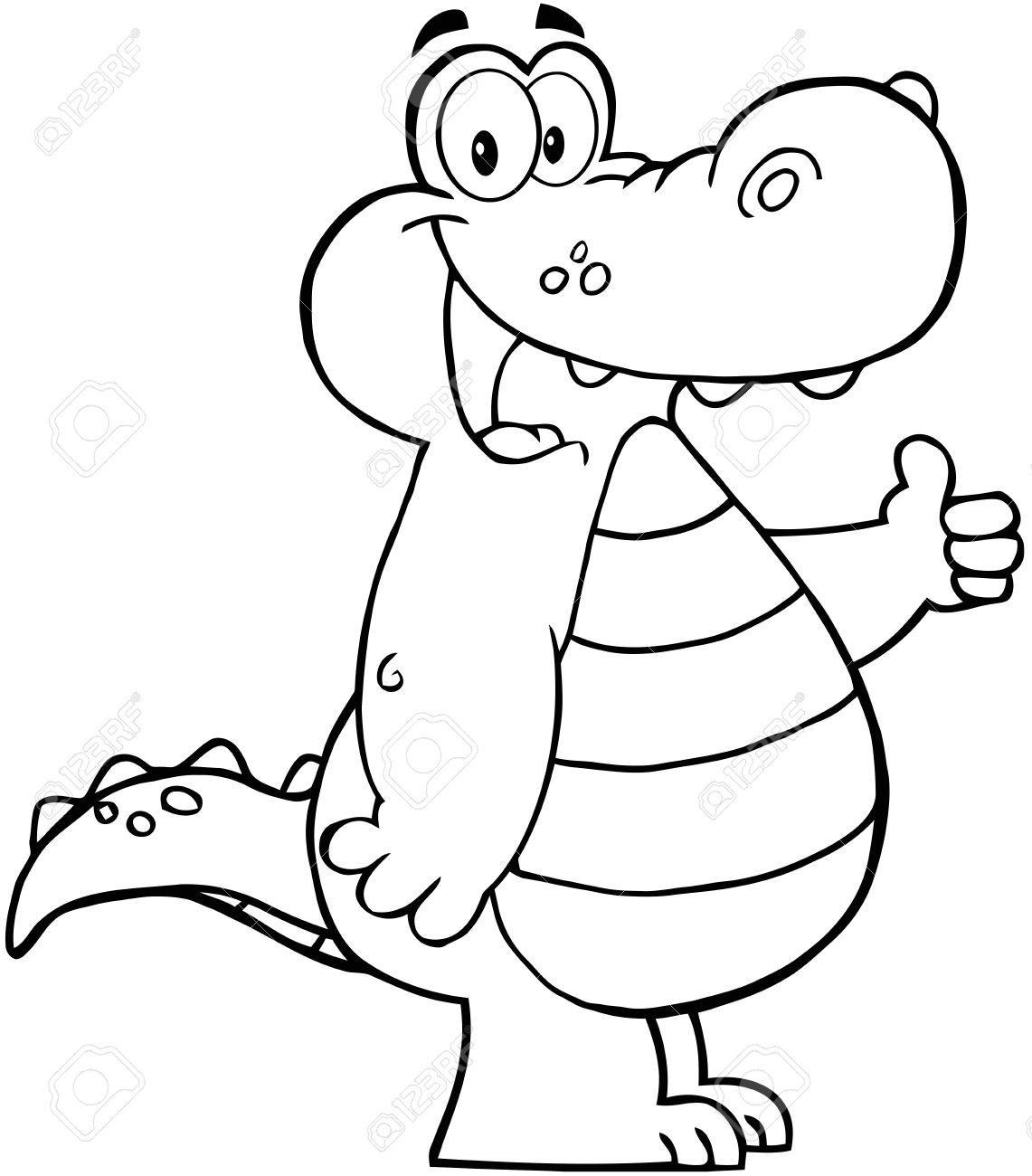 Outlined Smiling Aligator Or Crocodile Showing Thumbs Up Royalty