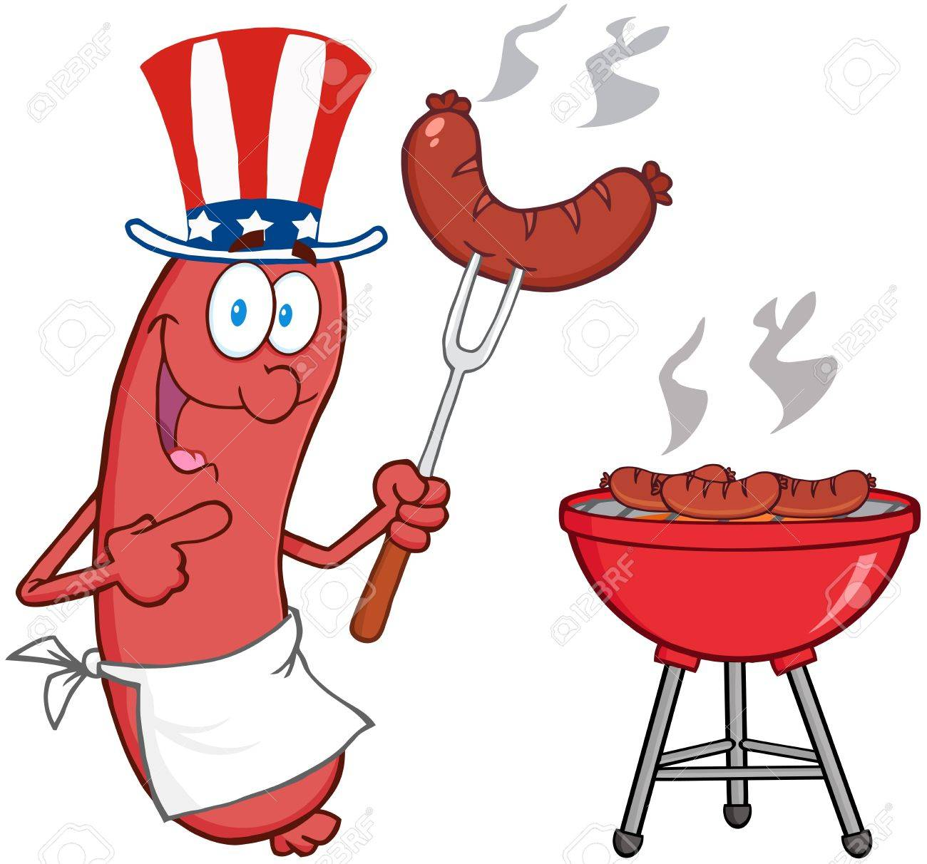 Happy Sausage With American Patriotic Hat Cook At Barbecue Stock Vector - 18092315