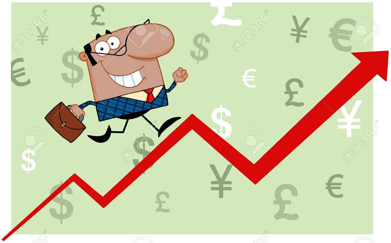 Smiling African American Business Man Running Upwards On A Statistics Arrow Stock Vector - 18439042