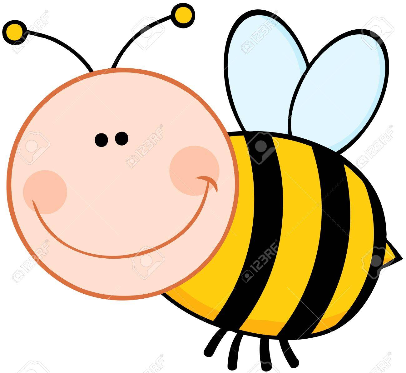 smiling bumble bee cartoon mascot character flying royalty free rh 123rf com Bumble Bee Drawing Bumble Bee Clip Art