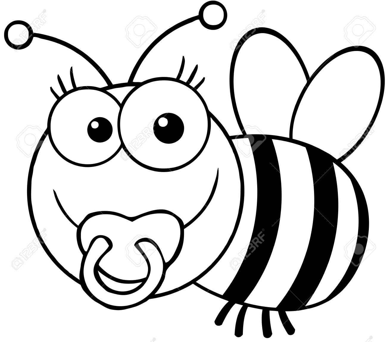 outlined baby bee cartoon mascot character royalty free cliparts
