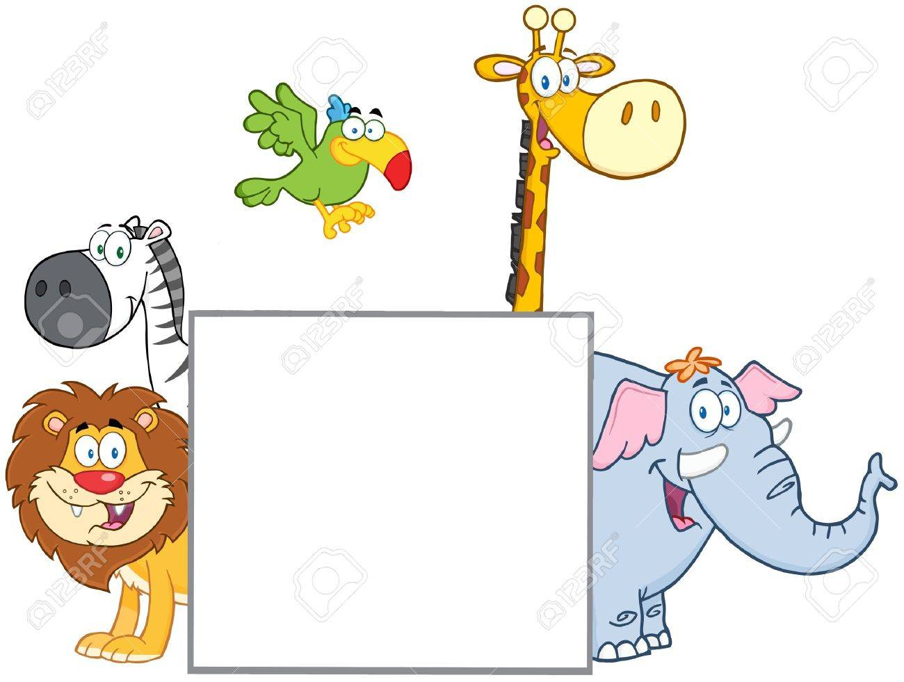 Jungle Animals Behind A Blank Sign Stock Vector - 19606813
