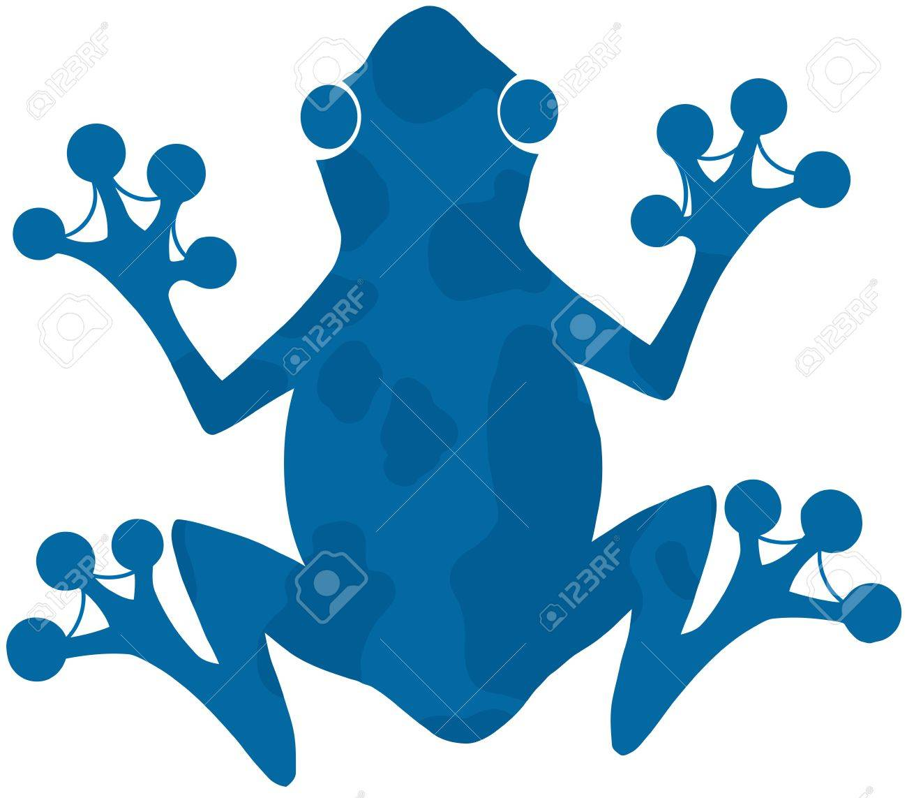 Blue Spotted Frog Silhouette Logo Stock Vector - 19986677