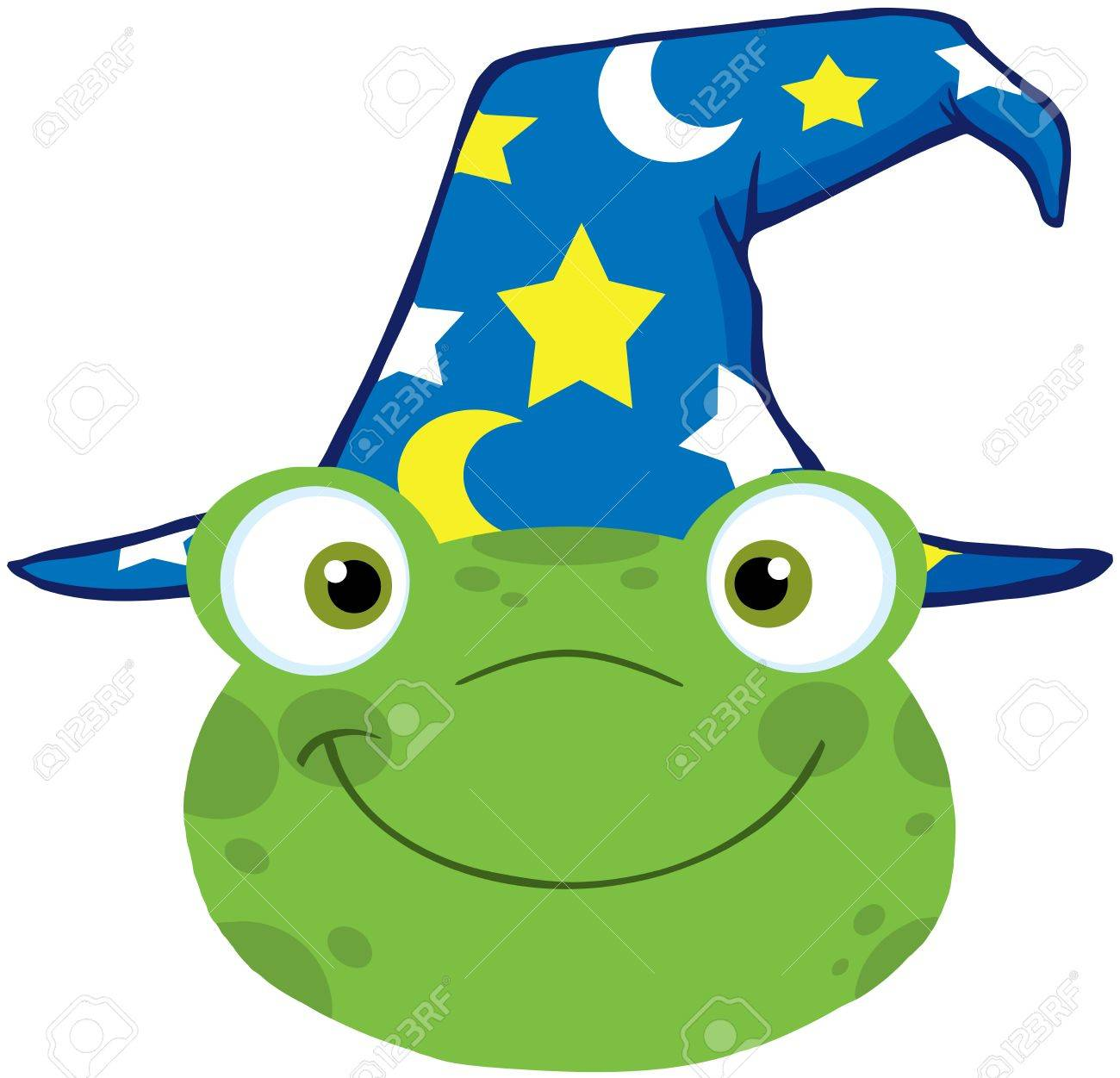 Cute Frog Smiling Head With Wizard Hat Stock Vector - 19986689