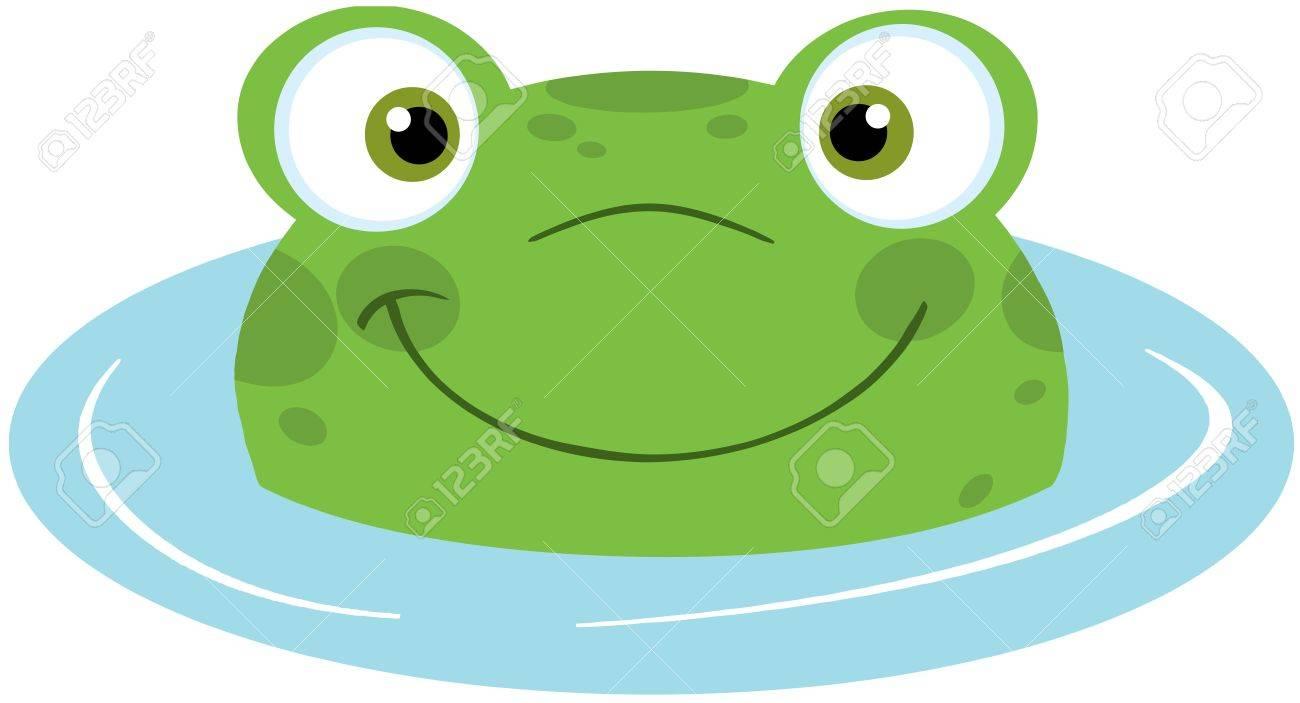 Cute Frog Smiling In Water Stock Vector - 20275521