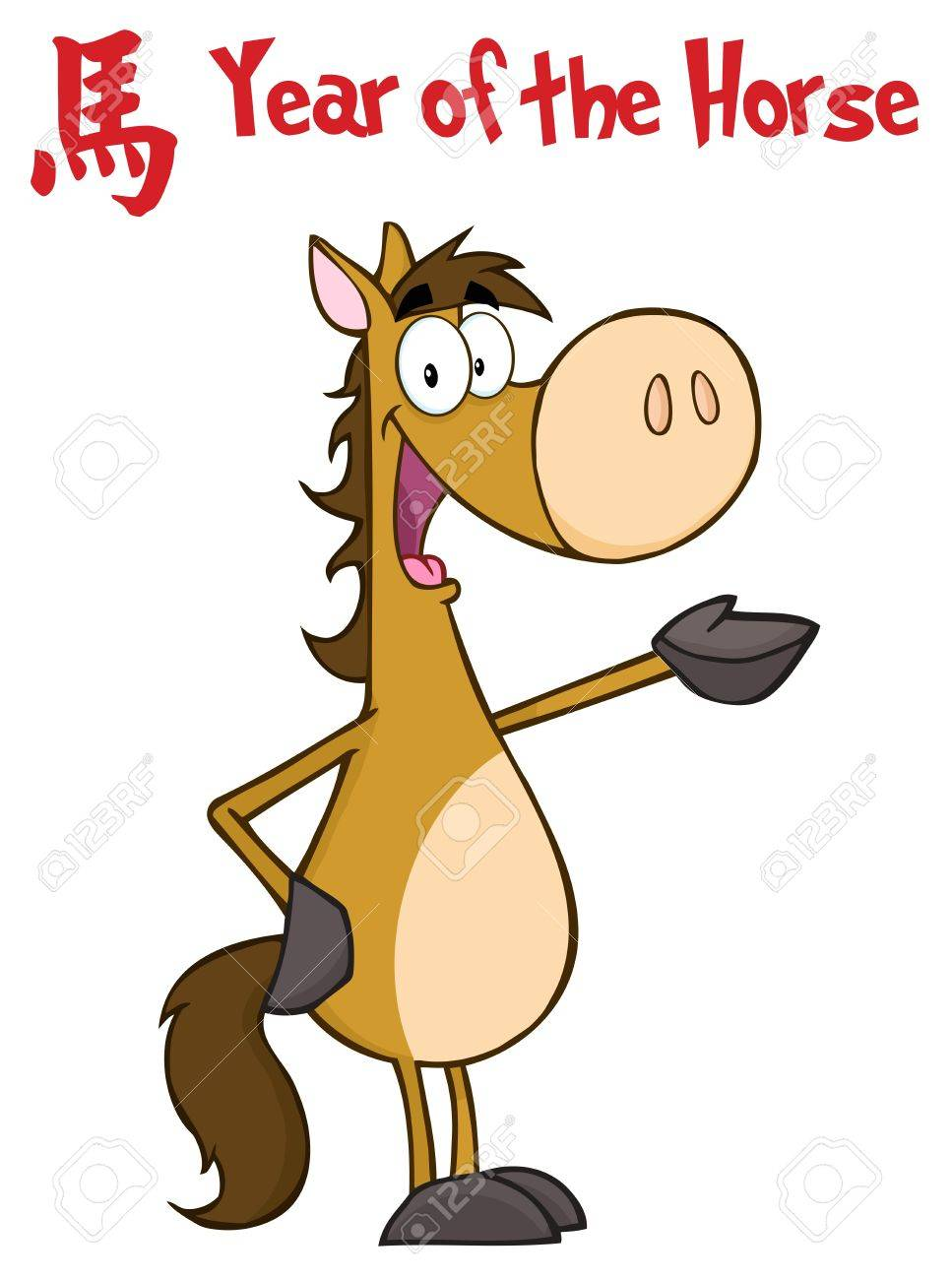Waving horse character with a year of the horse chinese symbol waving horse character with a year of the horse chinese symbol and text stock vector buycottarizona