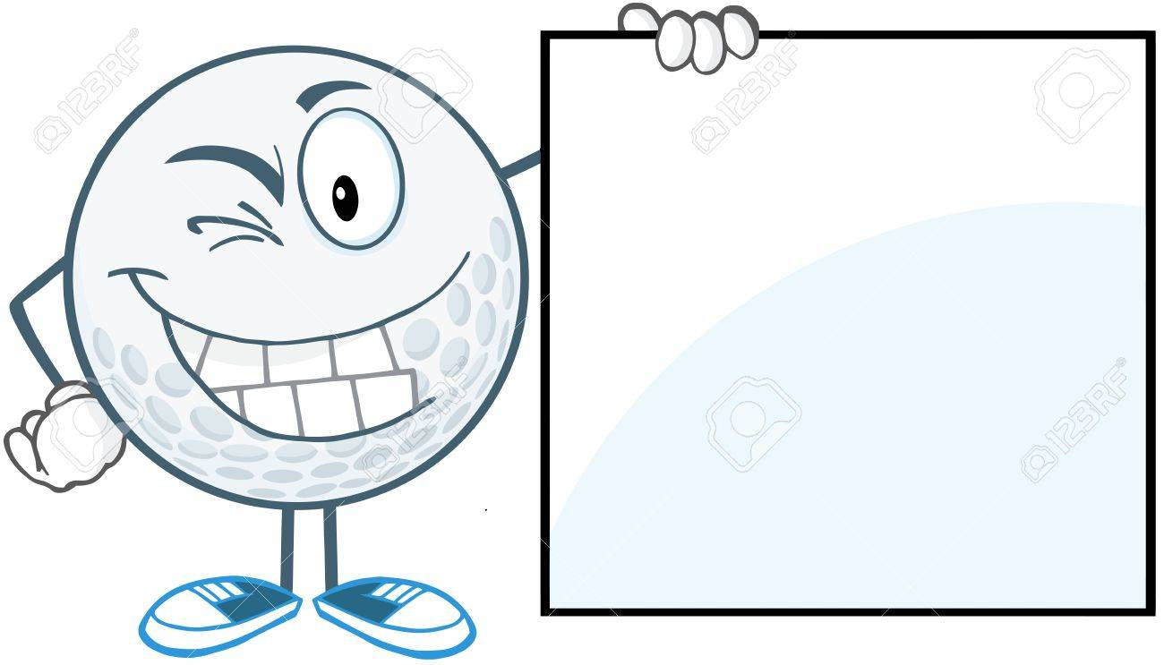 Winking Golf Ball With Showing A Sign Stock Vector - 20749068