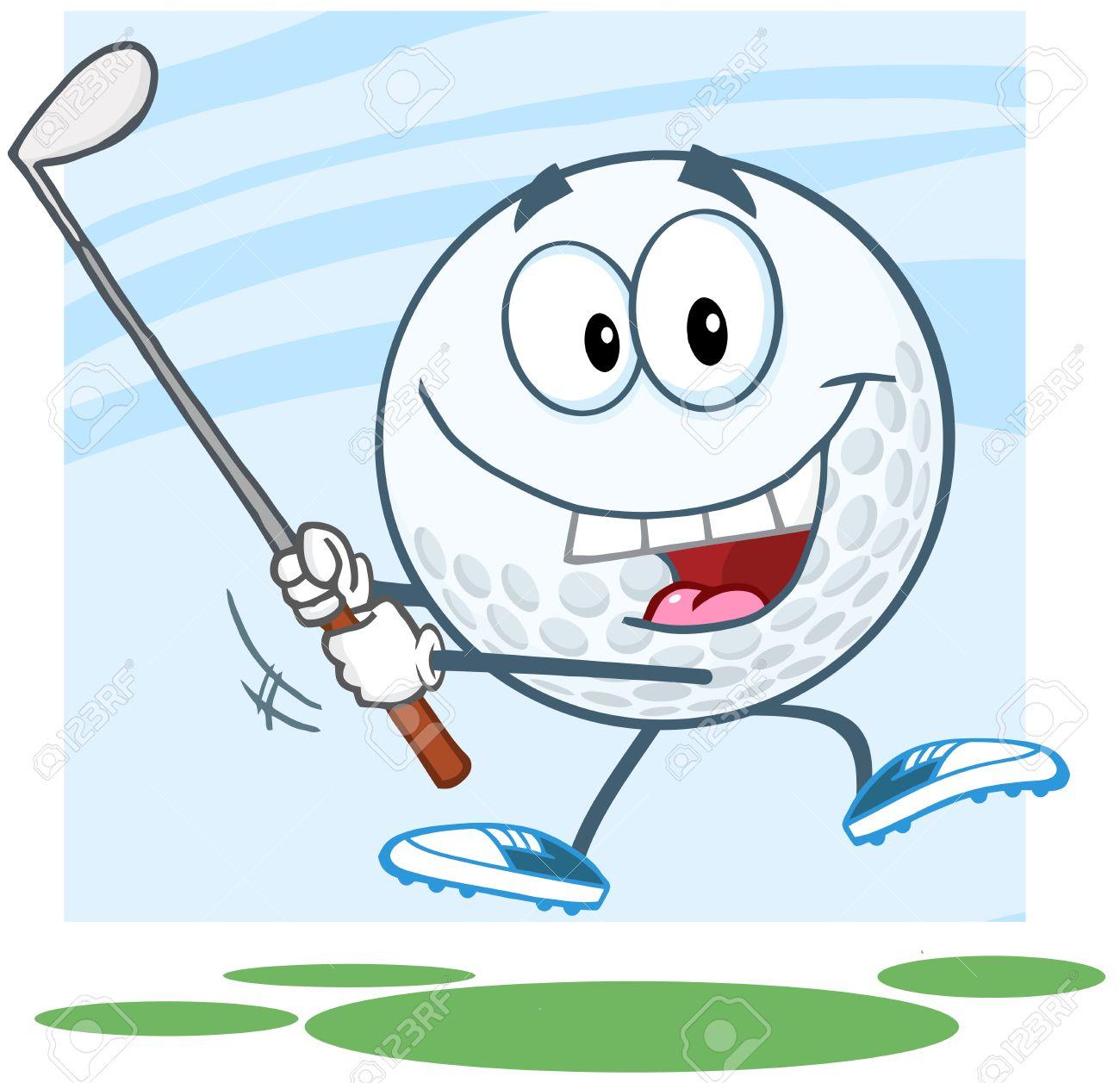 Happy Golf Ball Cartoon Character Swinging A Golf Club Royalty Free on cartoon easy draw golf club, easy drawings to draw golf club, cartoon golf club bag, cartoon swinging golf club,