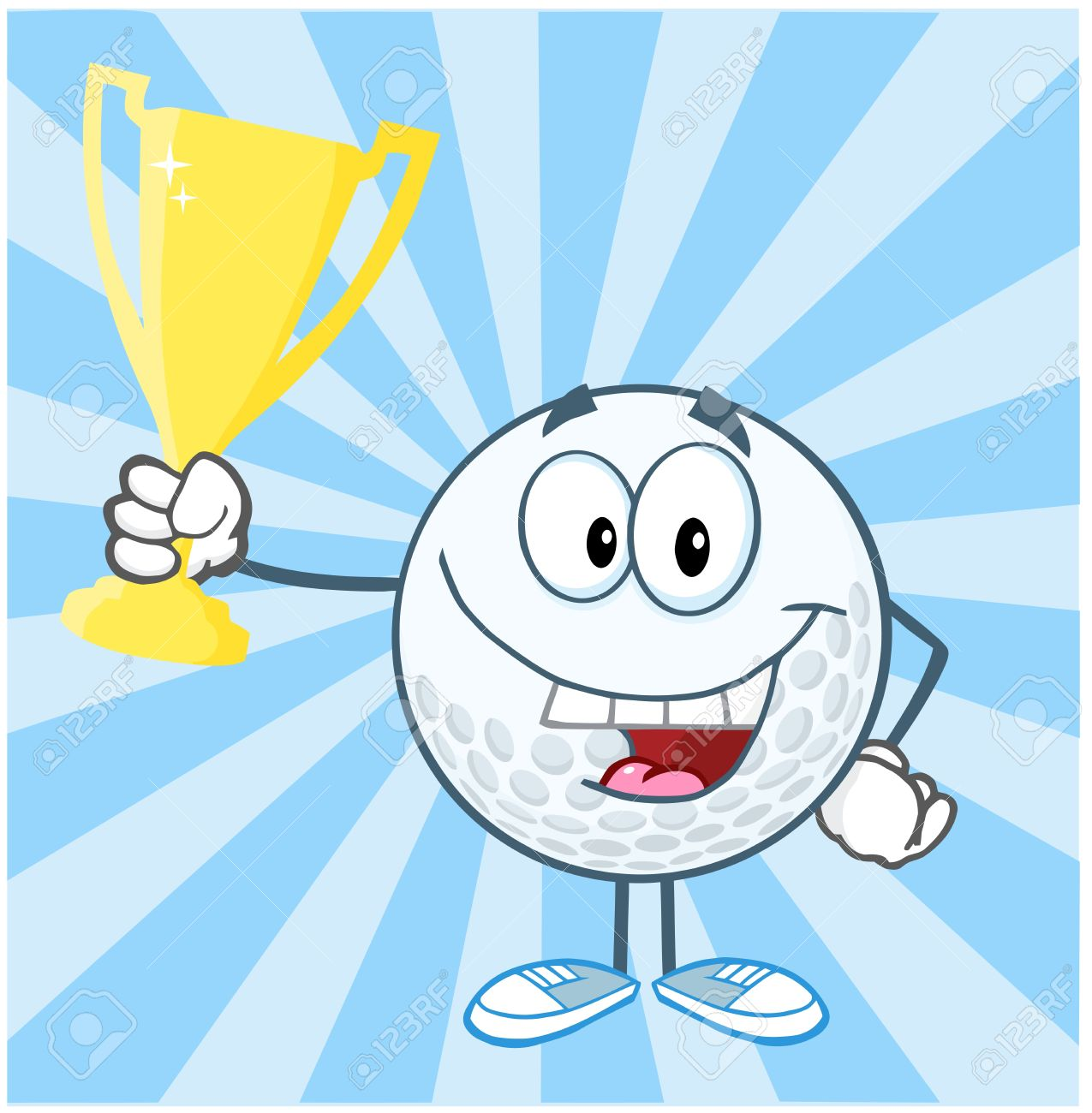 Golf Ball Cartoon Character Holding Prize Trophy Cup Royalty Free Cliparts Vectors And Stock Illustration Image 20749090