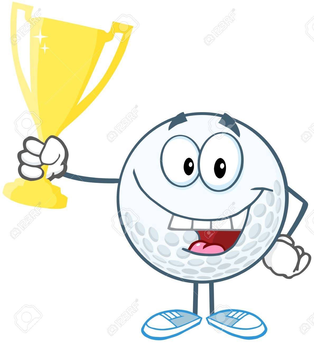 Happy Golf Ball Holding Prize Trophy Cup Royalty Free Cliparts Vectors And Stock Illustration Image 20749076