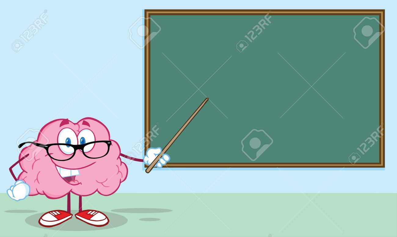 Happy Brain Teacher Character With A Pointer In Front Of ...