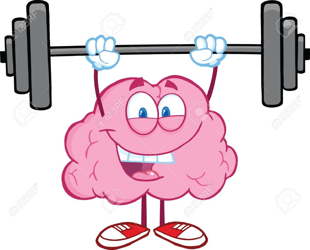 happy brain character lifting weights royalty free cliparts vectors rh 123rf com weightlifting clipart woman lifting weights clipart