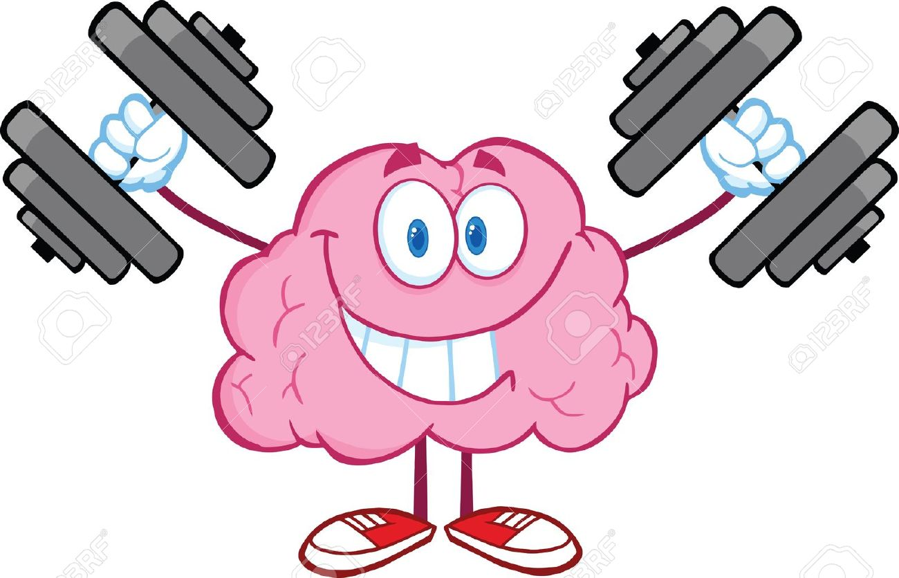 Smiling Brain Cartoon Character Training With Dumbbells Royalty ... for Smart Cartoon Brain  29jwn