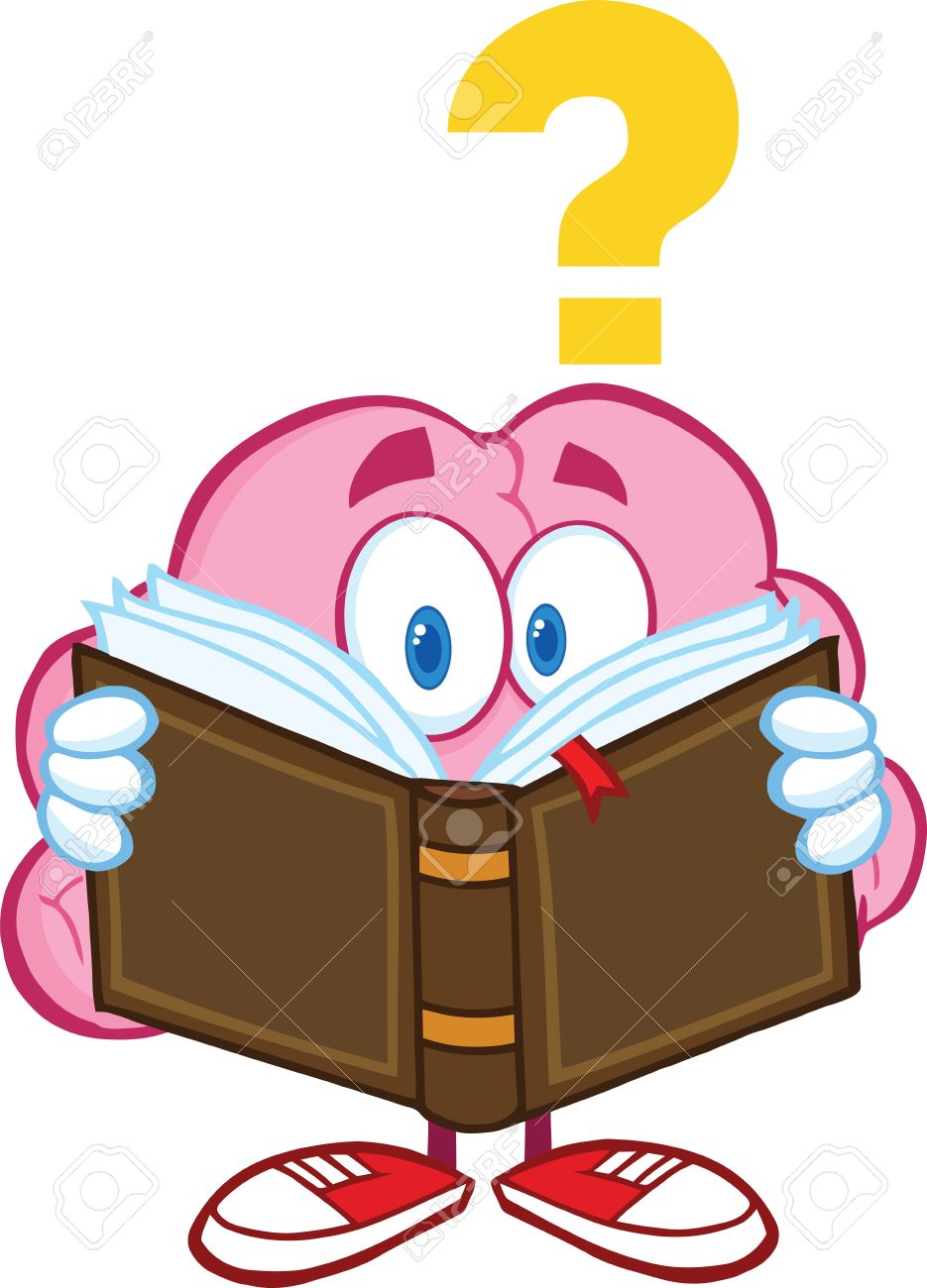 Surprised Brain Cartoon Character Reading A Book With Question Mark Stock Vector - 21020853
