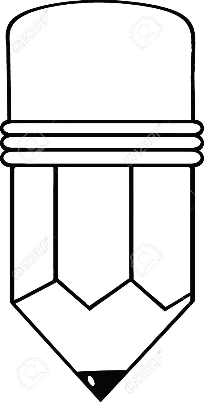 Outlined Cartoon Pencil Stock Vector - 21127358