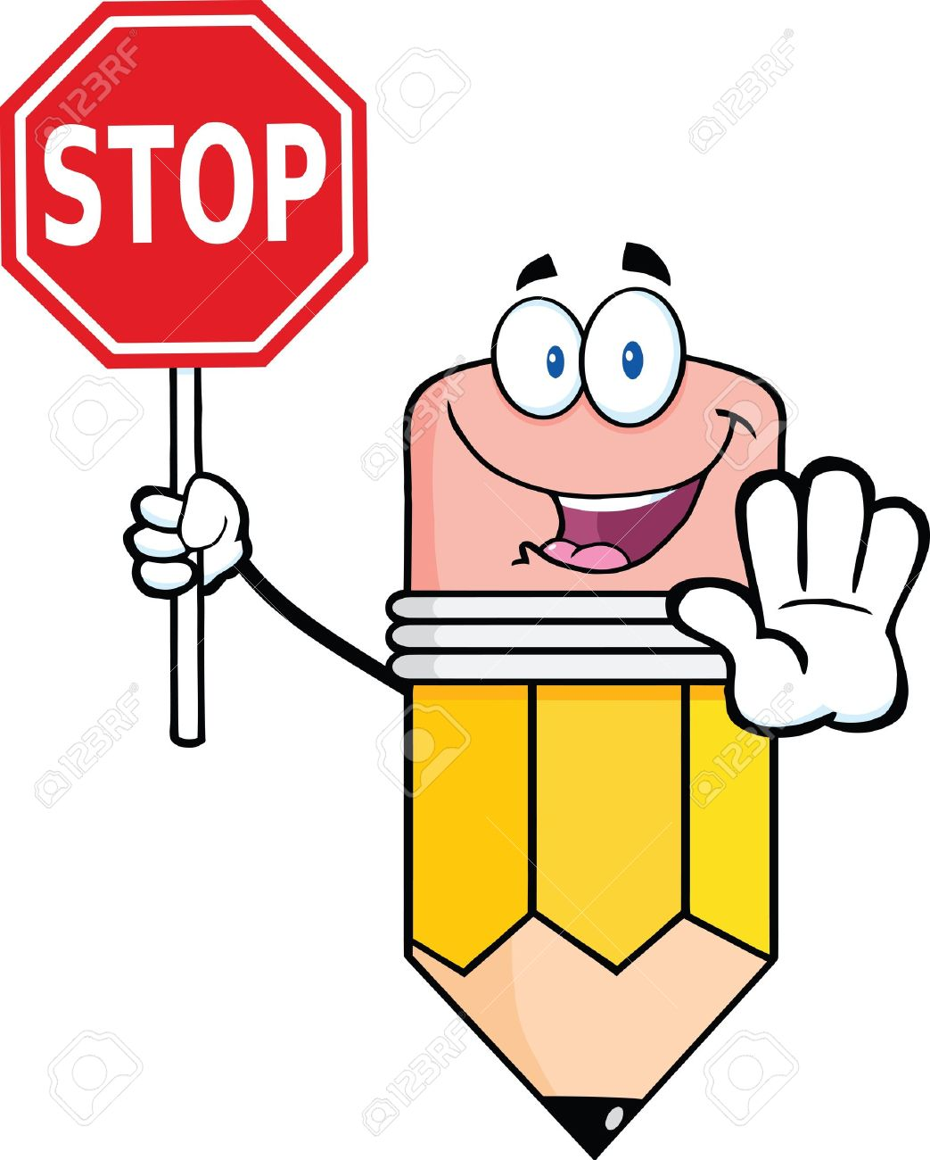 pencil cartoon mascot character holding a stop sign royalty free rh 123rf com stop sign cartoon black and white bus stop sign cartoon