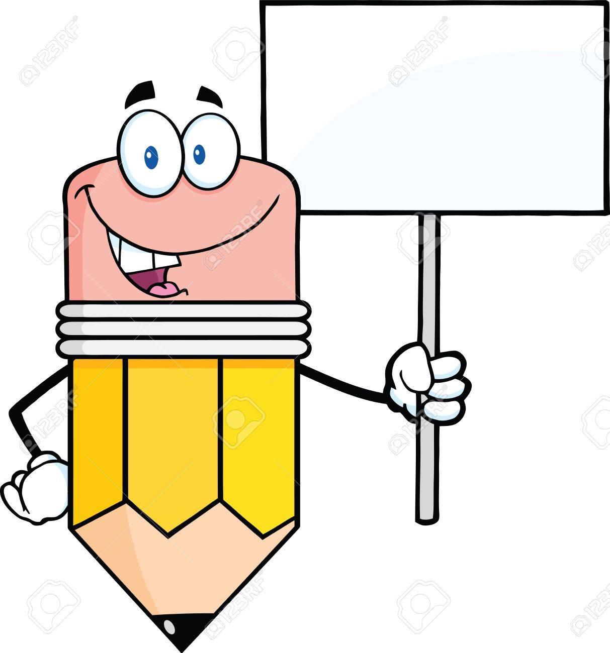 Lápiz Sonriente Personaje De Dibujos Animados Que Sostiene Un ...