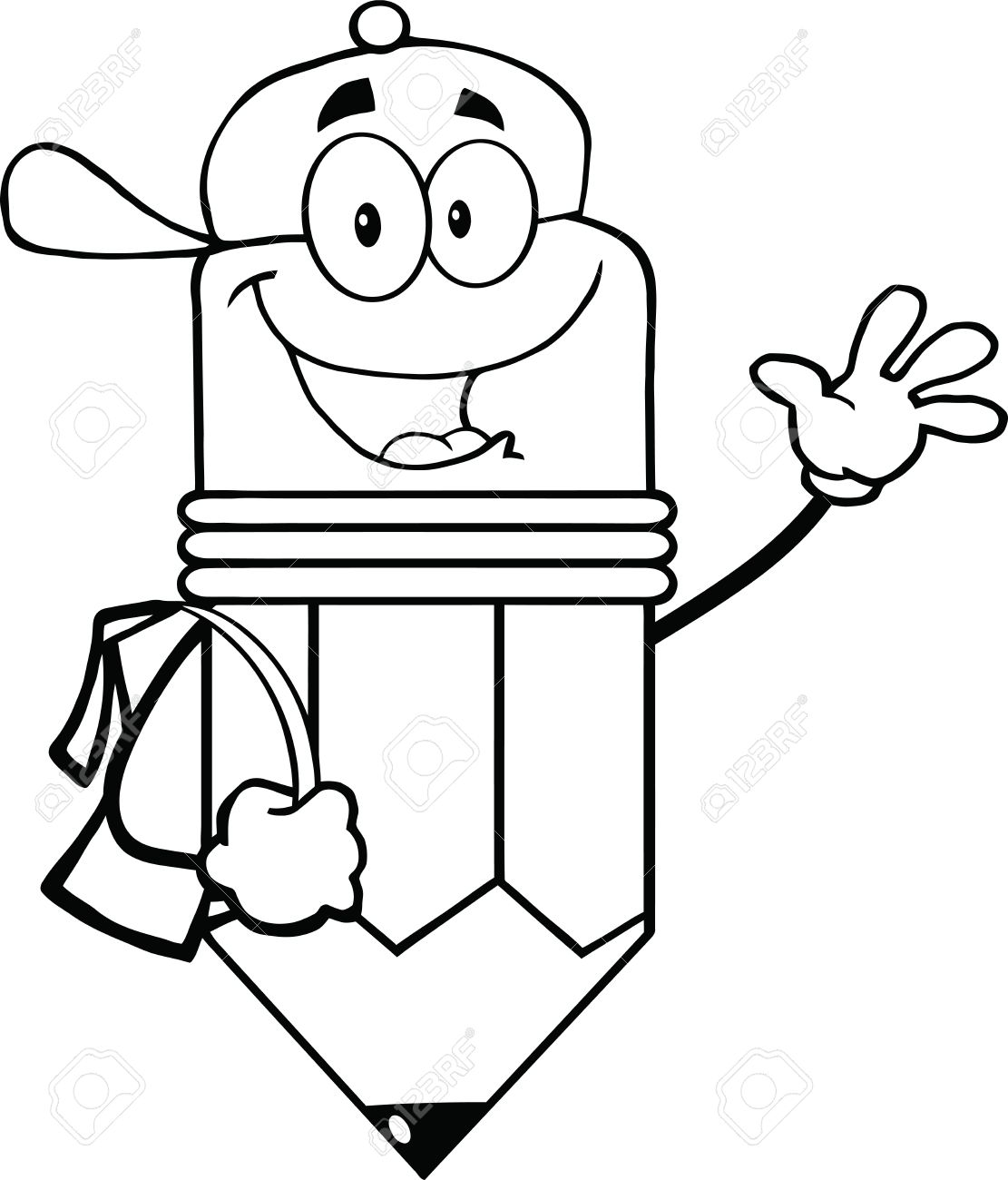 outlined happy pencil student going to school royalty free cliparts rh 123rf com