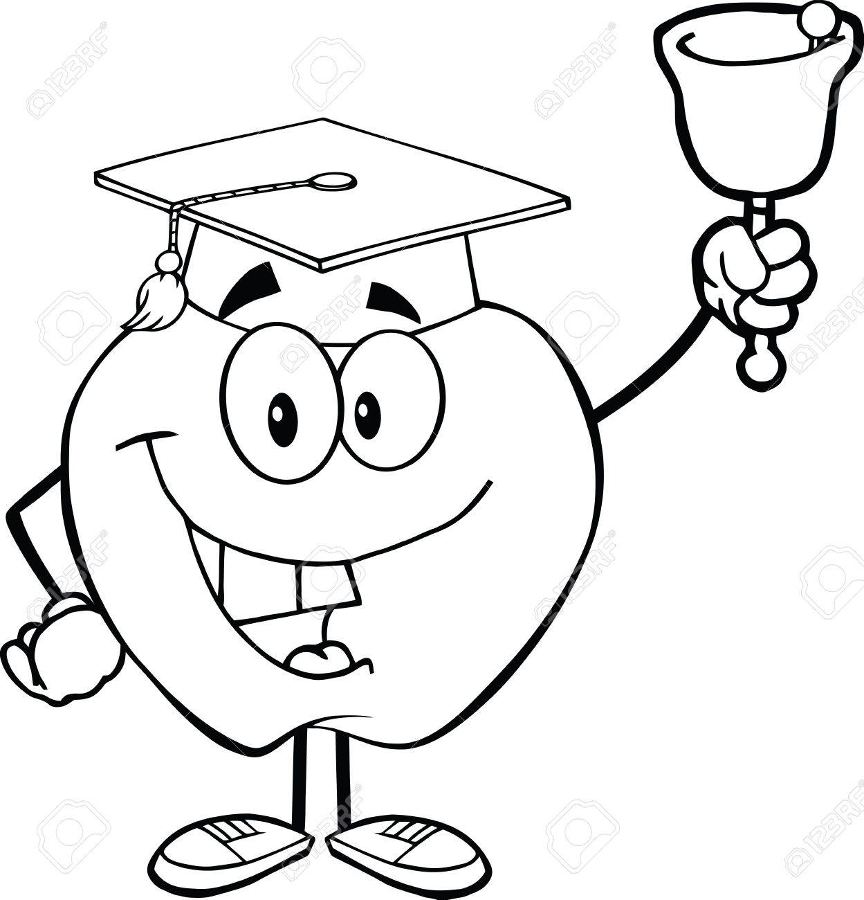 outlined smiling apple character ringing a bell for back to school