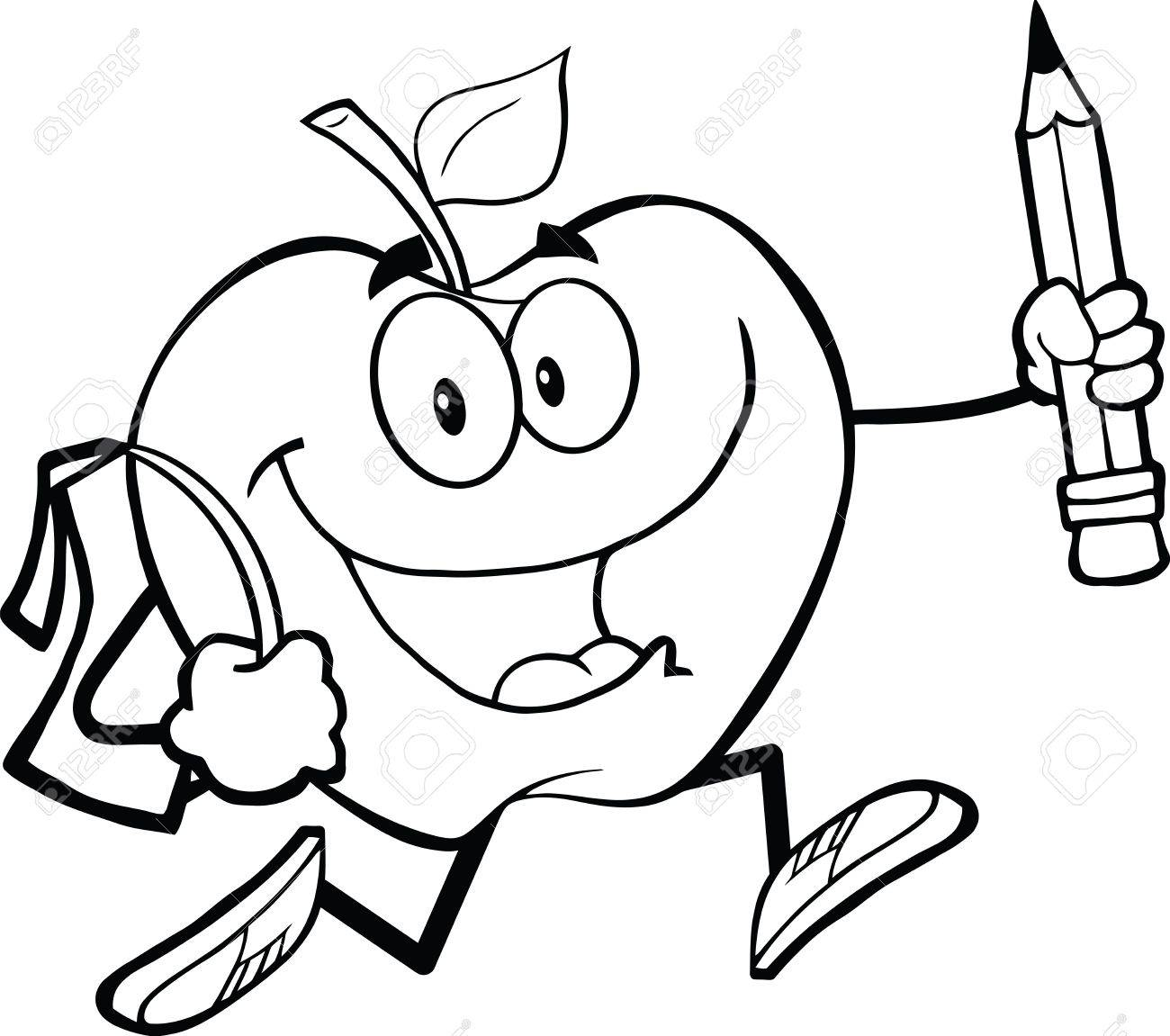 outlined happy apple character with school bag and pencil goes