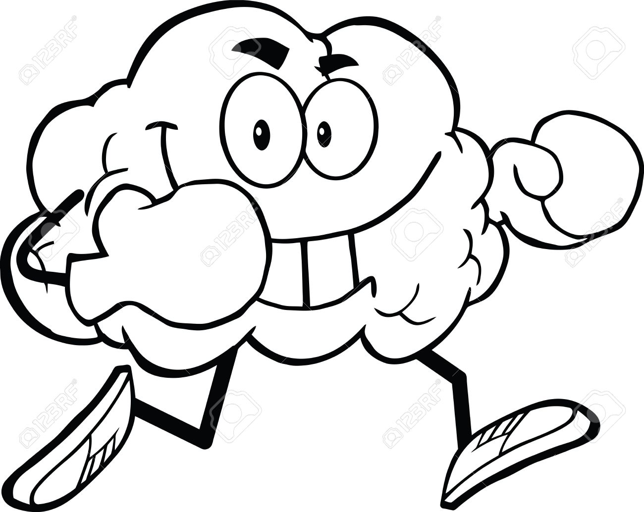 Brain Coloring Page Outlined Brain Cartoon Character Running With Boxing Gloves