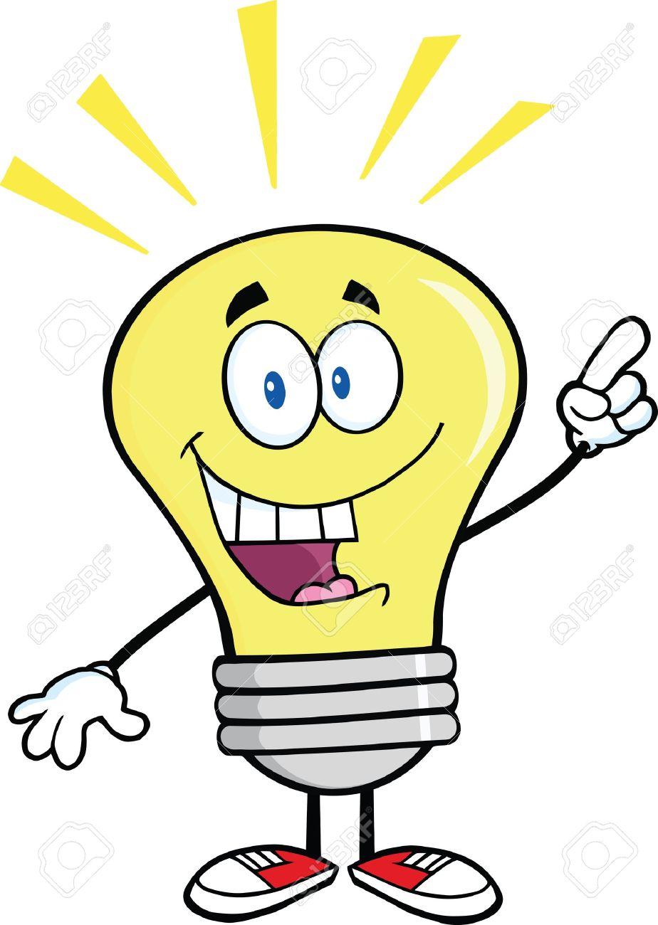 Great Idea Light Bulb: Light Bulb Cartoon Character With A Bright Idea