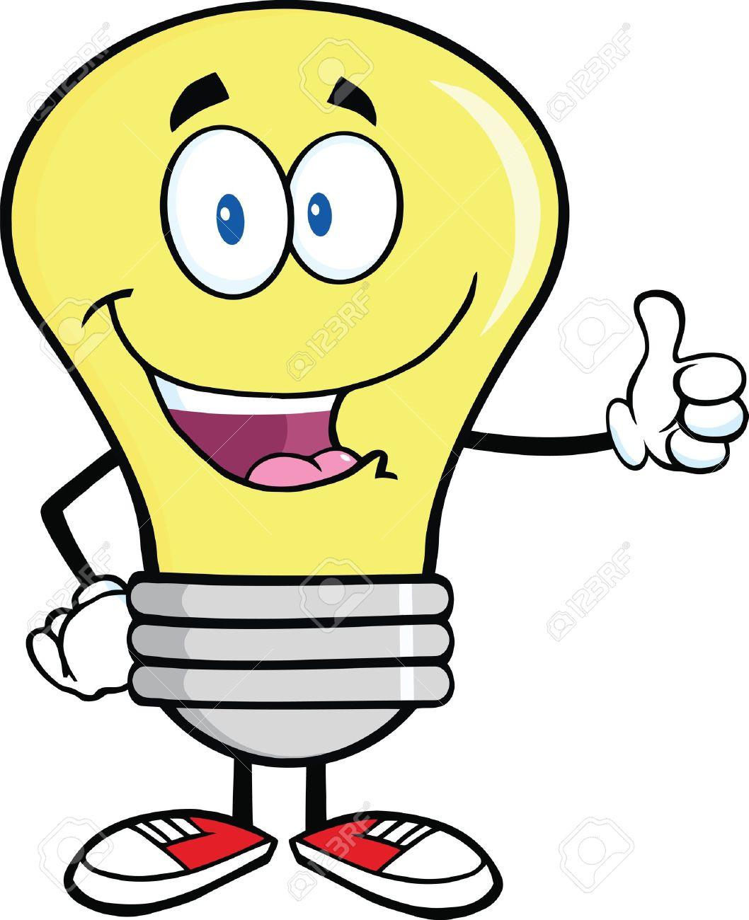 Ampoule Dessin ampoule personnage mascotte de dessin animé donnant un pouce clip