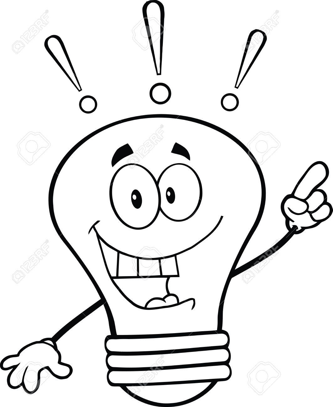Ampoule Dessin décrit ampoule personnage mascotte de dessin animé avec une idée