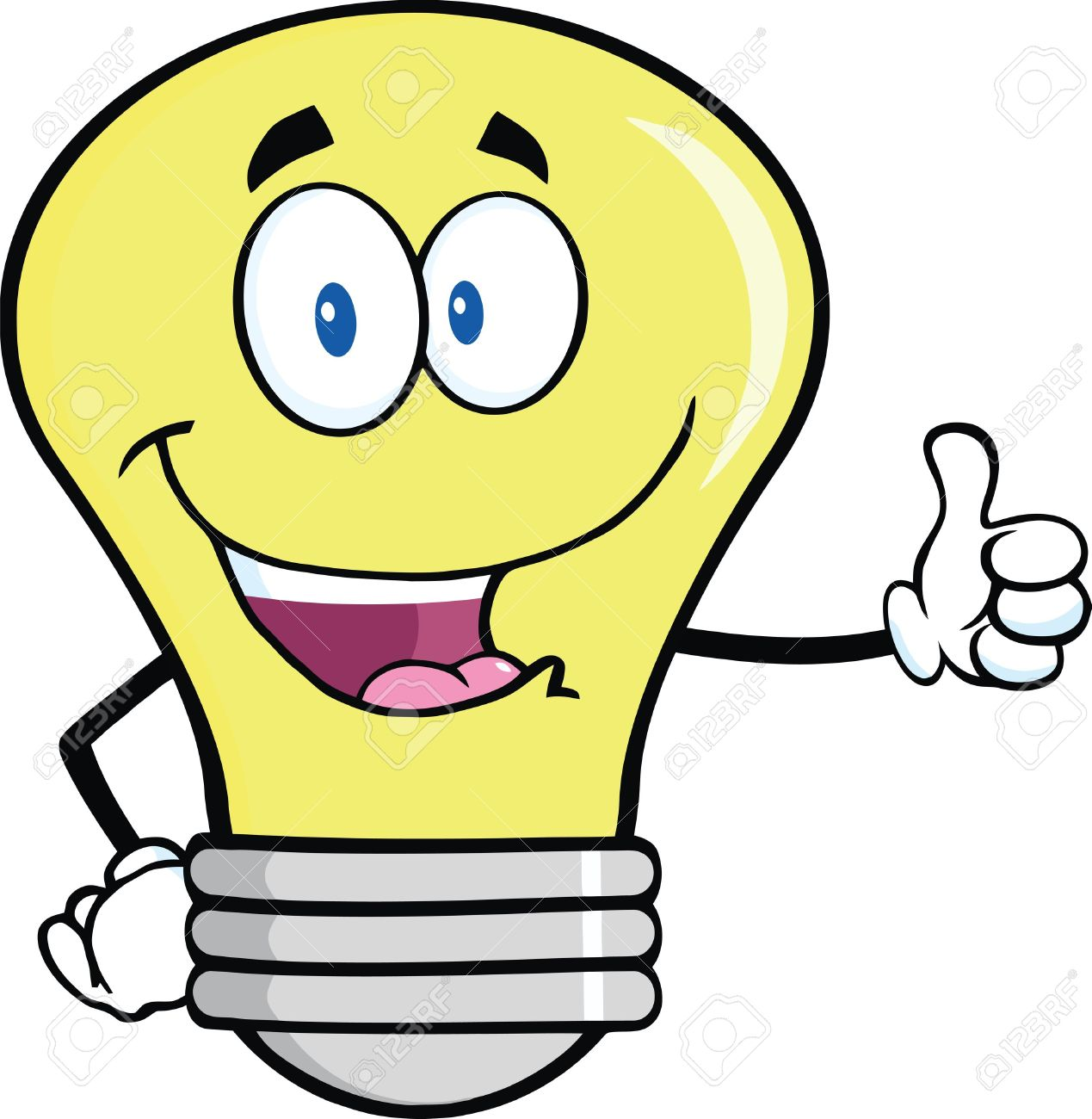Idea Light Bulb: Light Bulb Cartoon Mascot Character Giving A Thumb Up