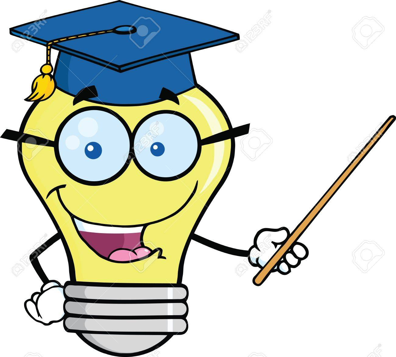 Smiling Light Bulb Teacher Character With A Pointer Royalty Free ...