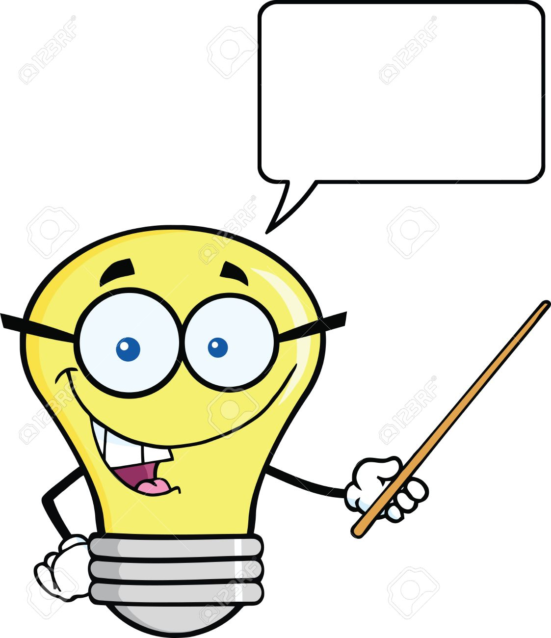 smiling light bulb character with a pointer and speech bubble rh 123rf com Light Bulb Thinking Idea Light Bulb No Background