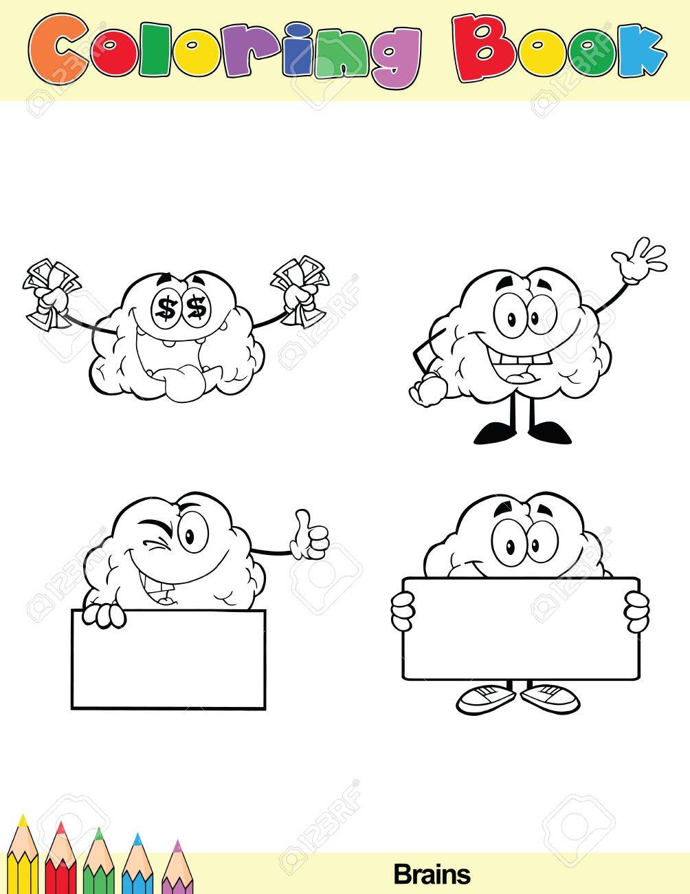 coloring book page brain cartoon character 5 stock vector 21311879 - Brain Coloring Book